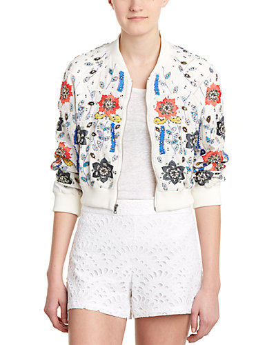 alice + olivia Jack Cropped Silk Jacket