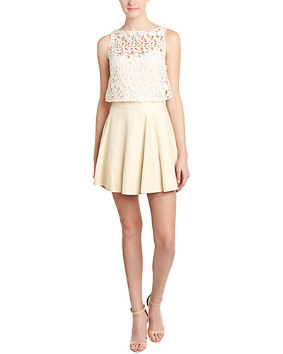 alice + olivia Julie Leather A-Line Dress