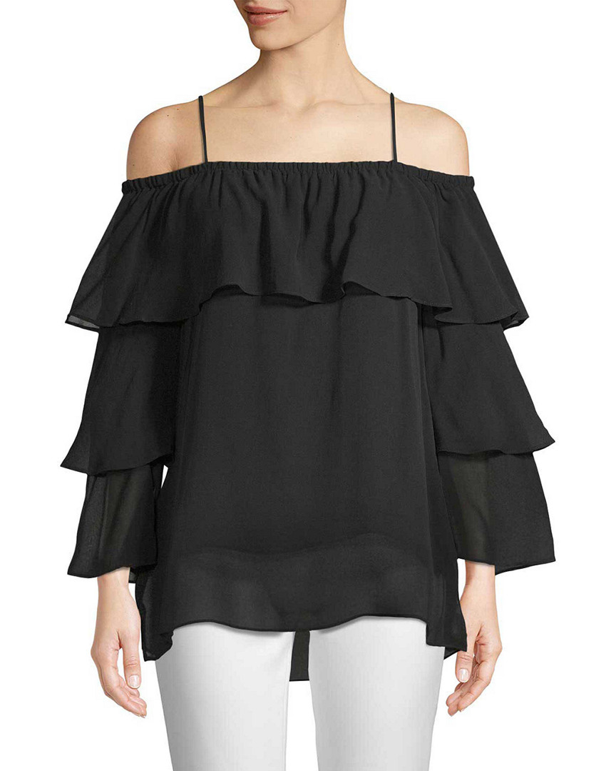 Gold Hawk Silk Ruffle Sleeve Top 14117892610001