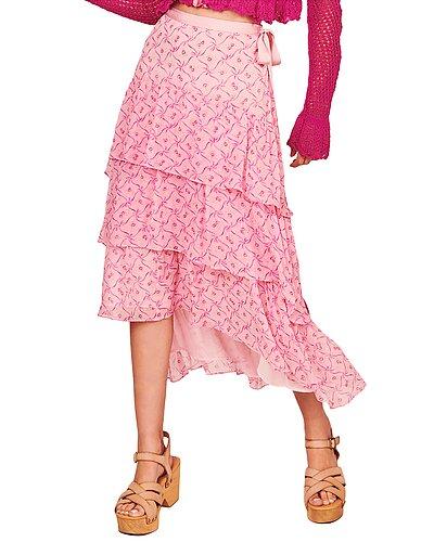 Rue La La — LoveShackFancy Adonis Silk Skirt