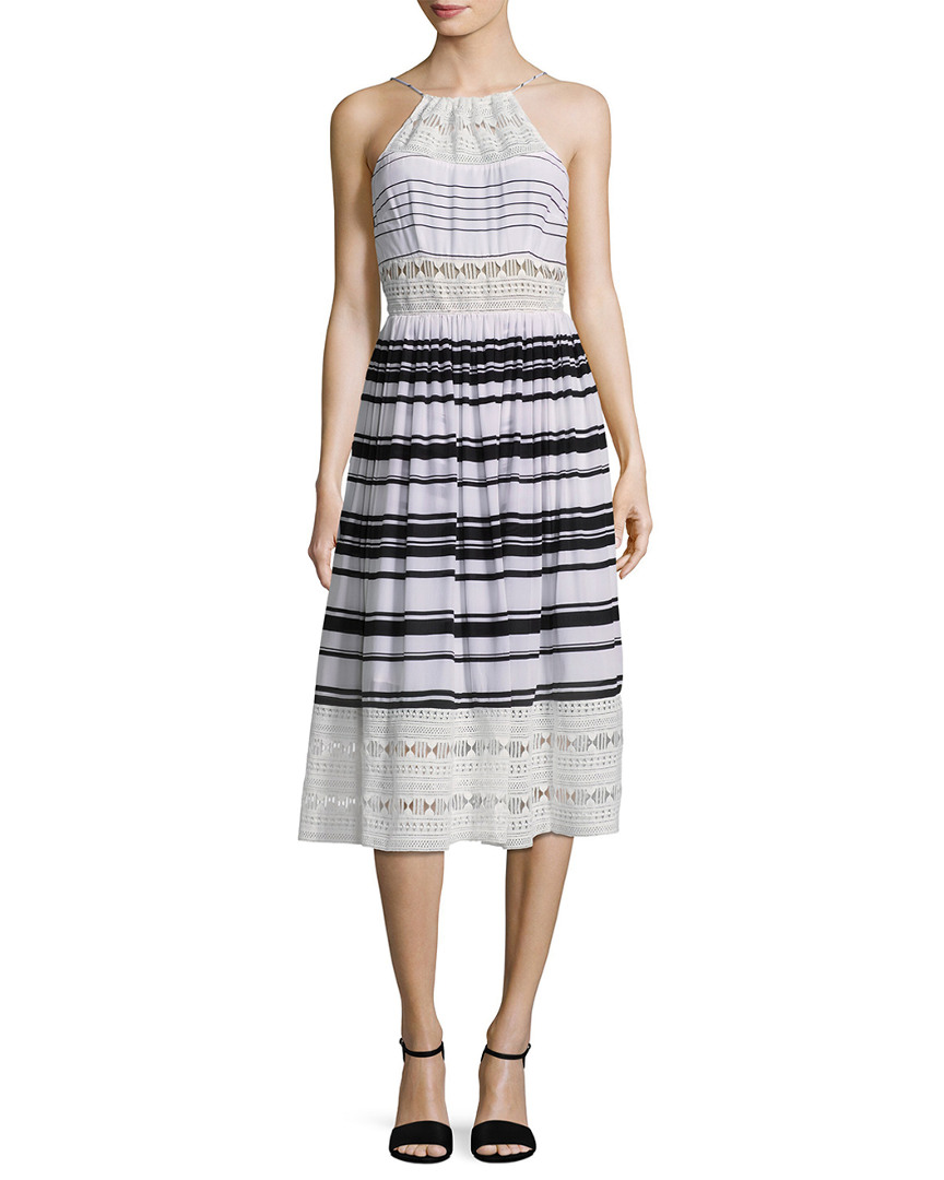 Tracy Reese PRINTED LACE INSET MIDI DRESS