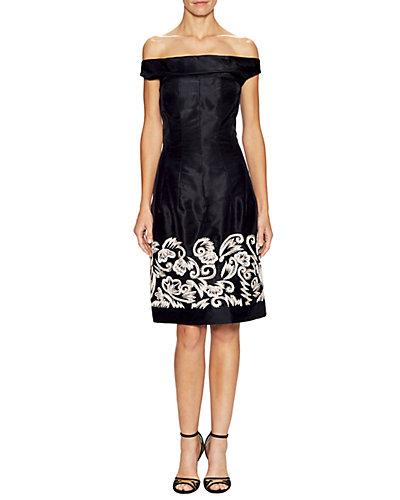 Rue La La — Oscar de la Renta Silk Embellished Off-the-Shoulder Dress