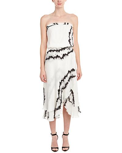 Haute Hippie Strapless Silk Midi Dress