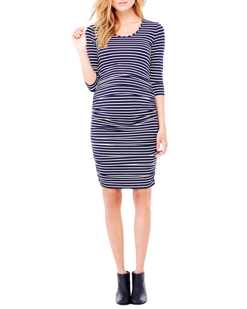 Ingrid & Isabel STRIPE 3/4 SLEEVE SHIRRED DRESS