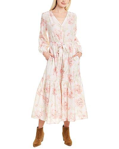 Rue La La — Rebecca Taylor Peonies Silk-Blend Midi Dress