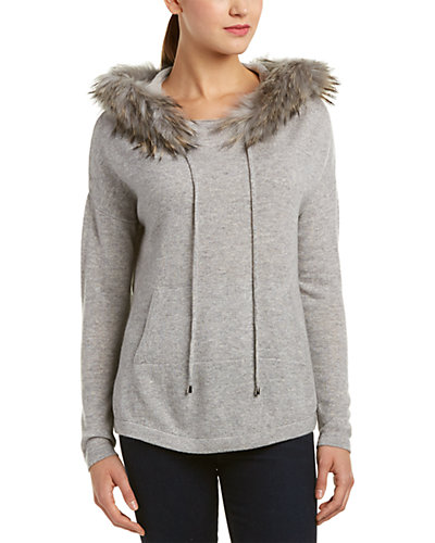 InCashmere Trimmed Cashmere Hoodie