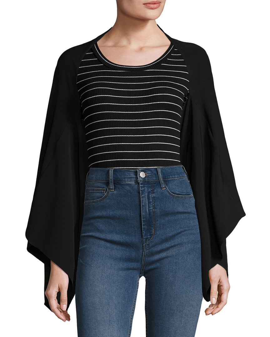 Temperley London STRIPE CREWNECK BLOUSE