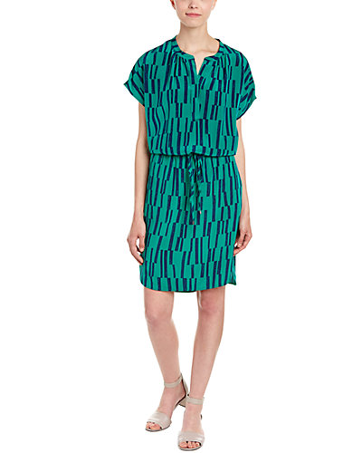 Vince Block Print Silk Shirtdress