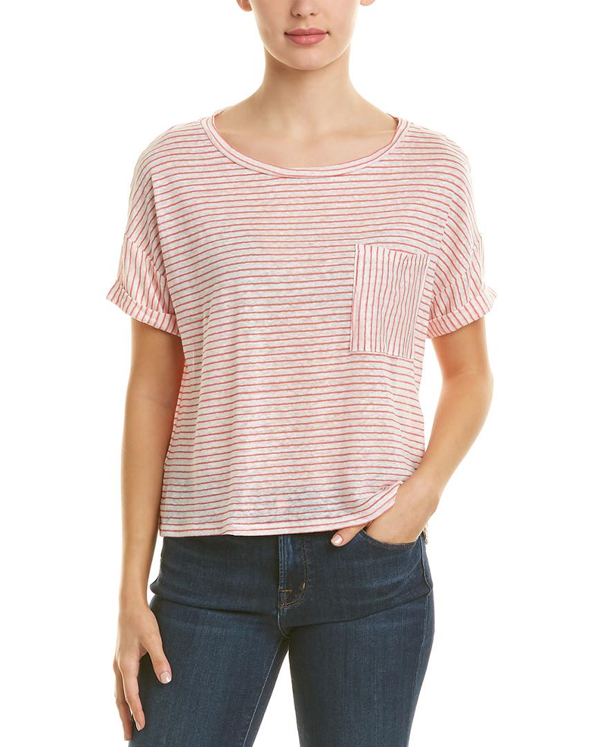 172ffb26 Three Dots Boxy Pocket Linen-Blend T-Shirt | eBay