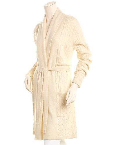 sofiacashmere Cable-Knit Cashmere Robe