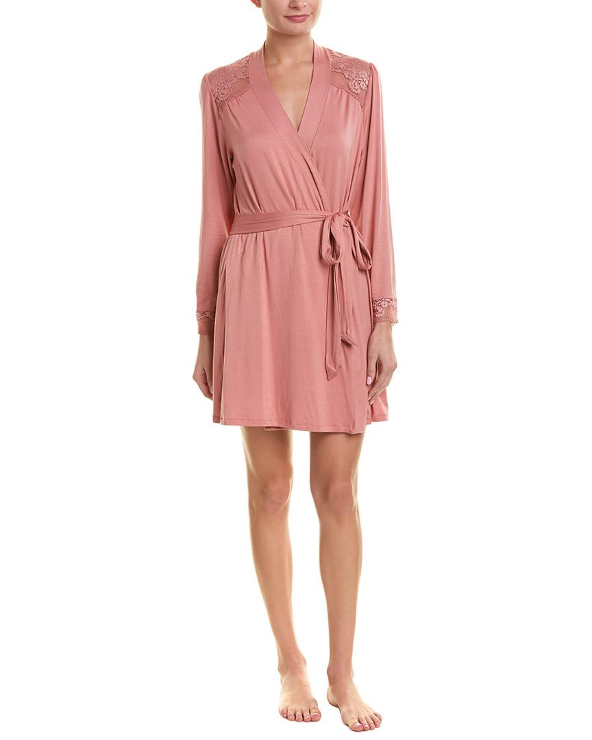 Eberjey Womens  Cuff Robe, S, Pink