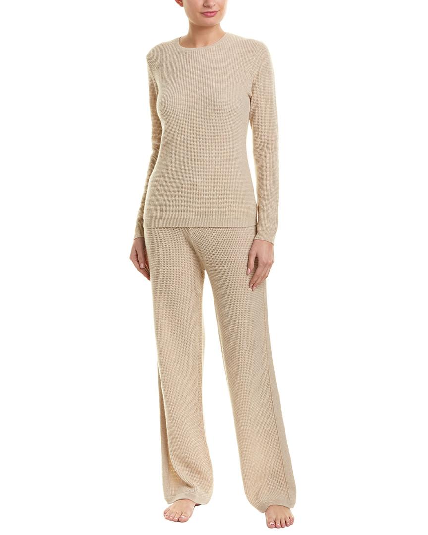 3047f13f46d9 Sofiacashmere 2Pc Thermal Lounge Cashmere Pajama Set