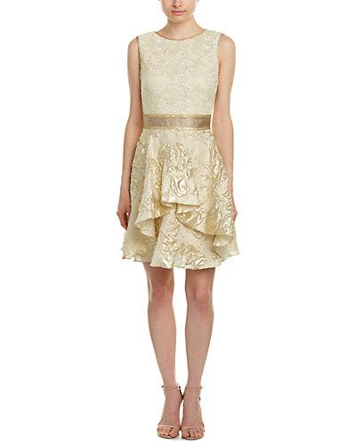 Nicole Miller Silk & Linen-Blend A-Line Dress