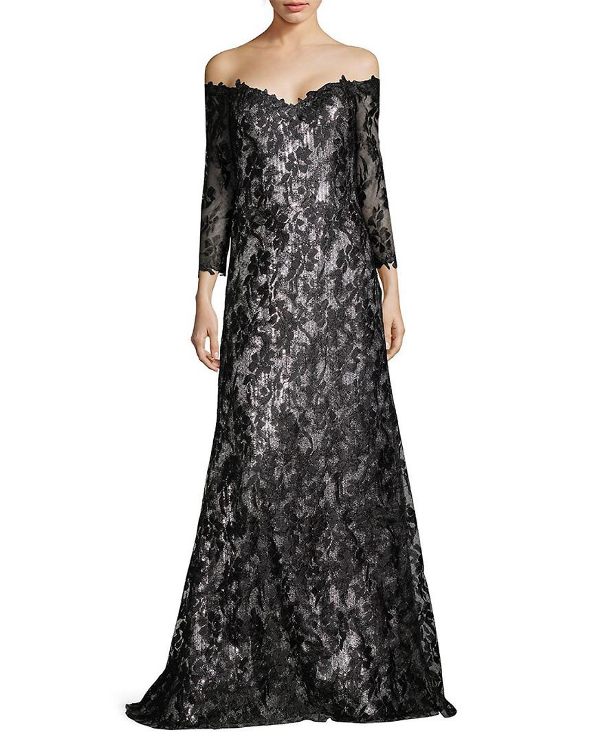 Rene Ruiz Womens Off-The-Shoulder Lace Silk Gown, 10 810245036722 | eBay