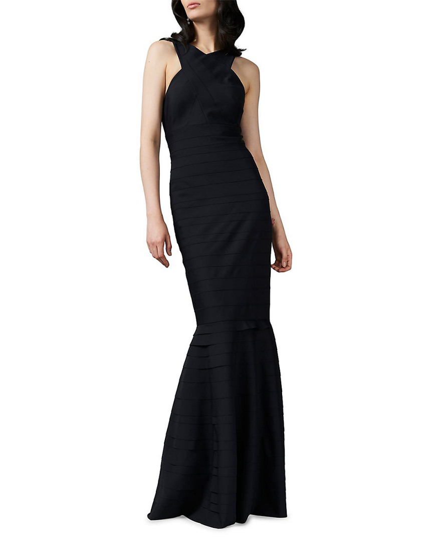 Kay Unger HALTER NECK TEXTURED GOWN