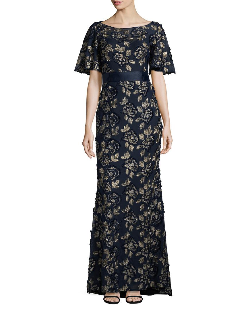 Detalles De Lotus Threads Mujer Floral Encaje Vestido Azul Marino Multi Oro Talla10