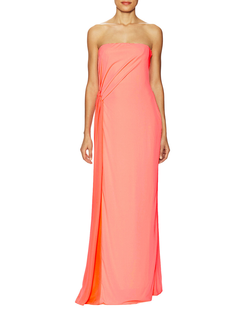 HALSTON HERITAGE DRAPED PLEATED EVENING GOWN, NOCOLOR | ModeSens