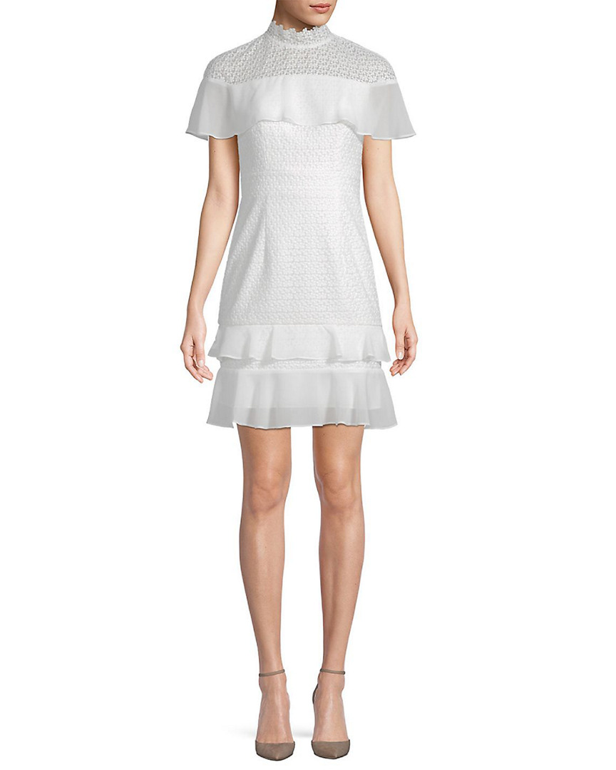 Ml Monique Lhuillier MONIQUE LHUILLIER RUFFLE SHOULDER COCKTAIL DRESS