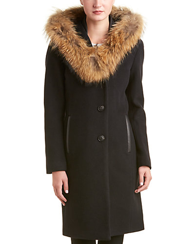 Mackage Andie Leather-Trim Wool & Cashmere-Blend Jacket