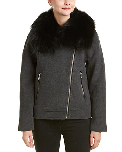 Mackage Felipa Leather-Trim Wool & Cashmere-Blend Jacket