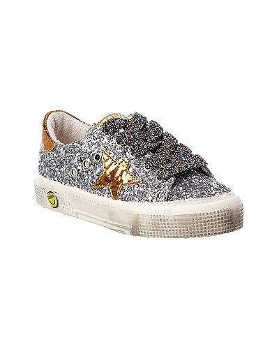 Rue La La — Golden Goose May Glitter & Leather Sneaker
