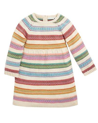 Rue La La — JoJo Maman Bébé Stripe Fairisle Wool-Blend Dress