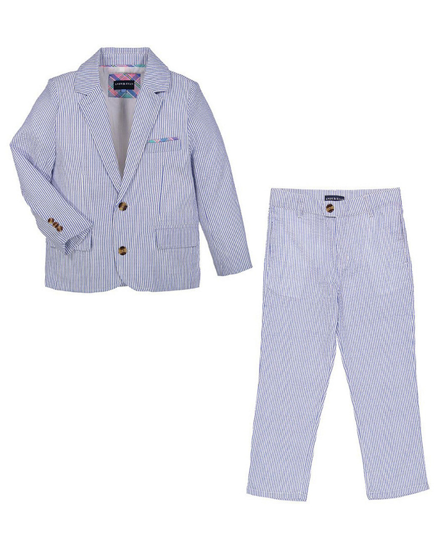 FOR GENTLEMEN SEERSUCKER STRIPED BLAZER & PANT SET