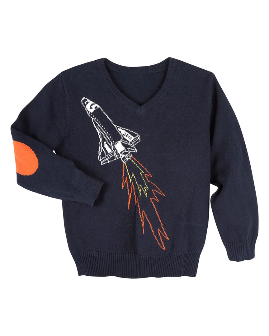 ANDY & EVAN For Little Gentlemen Intarsia Spaceship Sweater in Nocolor