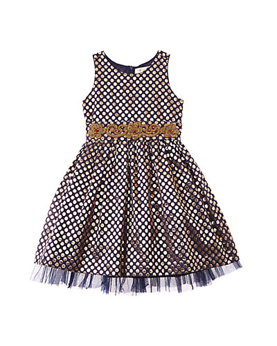 Cupcake & Pastries Girls' Navy Brocade Dress