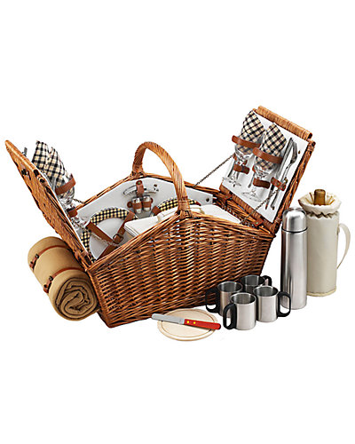 "Deluxe ""Huntsman"" Picnic Basket for 4 with Coffee & Blanket Set"