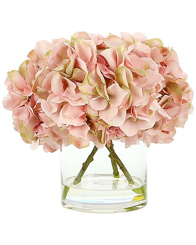Hydrangeas in Water 9.5in Floral with Vase