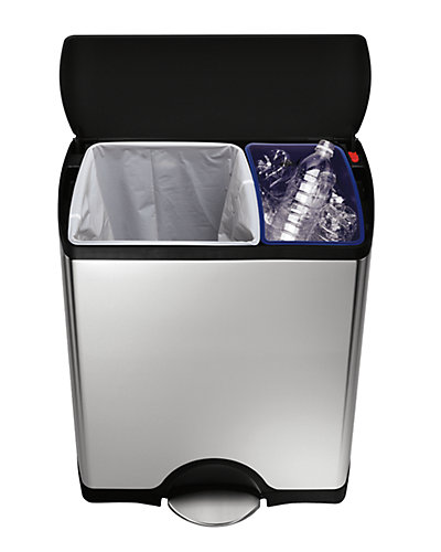 simplehuman 30/16 Litre Rect Recycler w/ 60pk Code H & Code V Custom Fit Liners