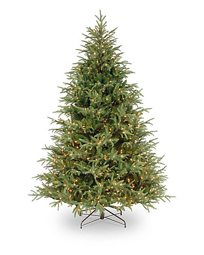 "7.5ft 6in ""Feel-Real"" Frasier Grande Hinged Tree with Clear Lights"