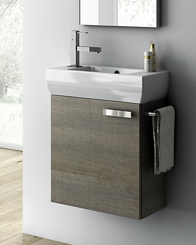 Nameeks Grey Oak 18in Bathroom Vanity