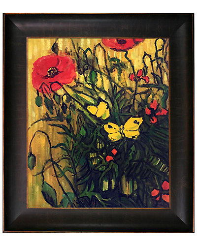 Poppies and Butterflies by Vincent Van Gogh Oil Reproduction