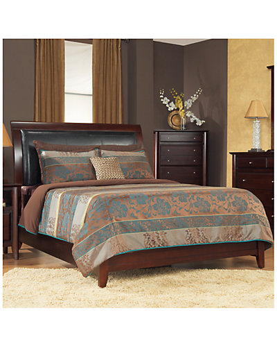 City II Leatherette Low Profile Sleigh Bed