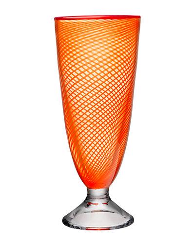 Kosta Boda Red Rim Footed Vase