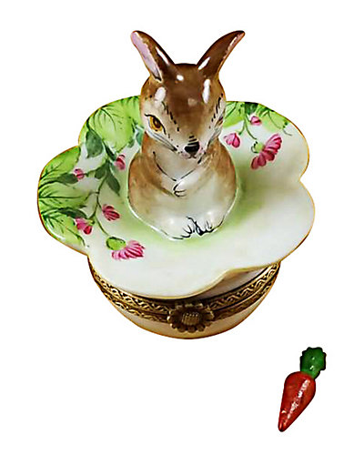 Rochard Limoges Brown Bunny On Leaf with Removable Carrot Box