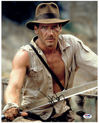 Harrison Ford Signed Indiana Jones Holding Sword Photo by Steiner Sports