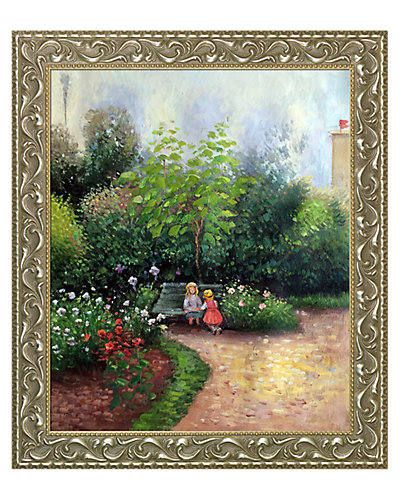 A Corner of the Garden at Hermitage Boulevard Montmartre, Spring by Camille Pissarro Framed Canvas