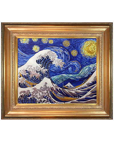 Starry Night Wave Collage by La Pastiche Originals Metallic Embellished Framed Hand Painted Oil on Canvas