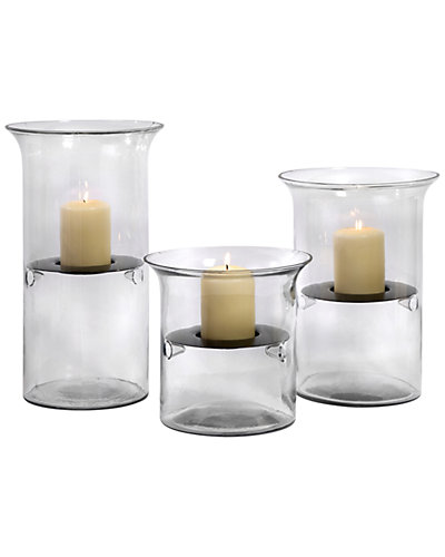 3pc Glass and Iron Tealight Holders