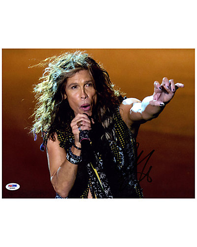 Steven Tyler Signed Singing Photo by Steiner Sports