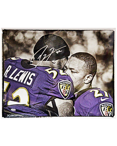 Ray Lewis Signed Hugging Ray Rice Signed 16x20 Hauser Photo