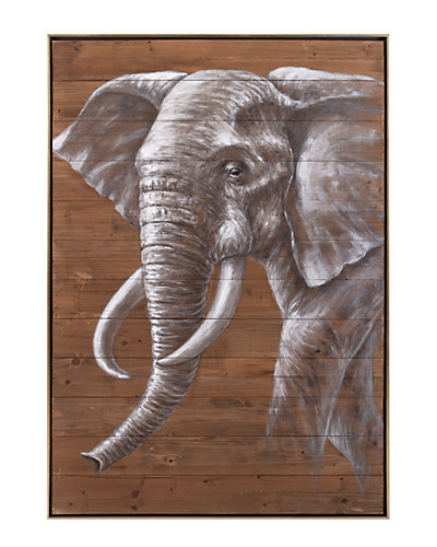 Nora Elephant Oil Painting on Wood
