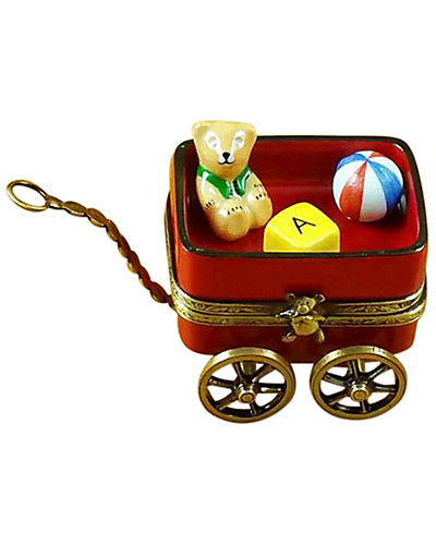 Rochard Limoges Red Wagon with Bear