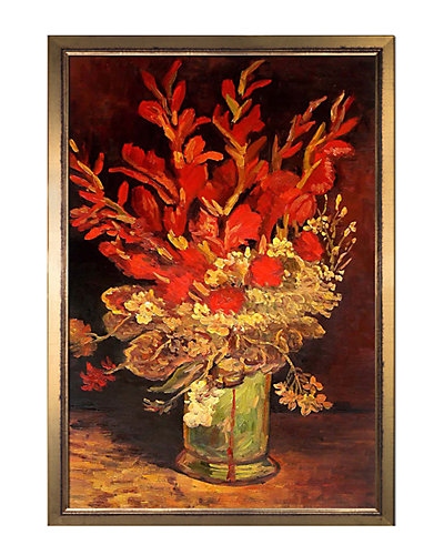 Vase with Gladioli and Carnations by Vincent Van Gogh Framed Hand Painted Oil Reproduction