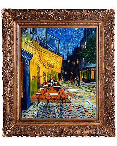 Cafe Terrace at Night Metallic Embellished by Vincent Van Gogh Reproduction