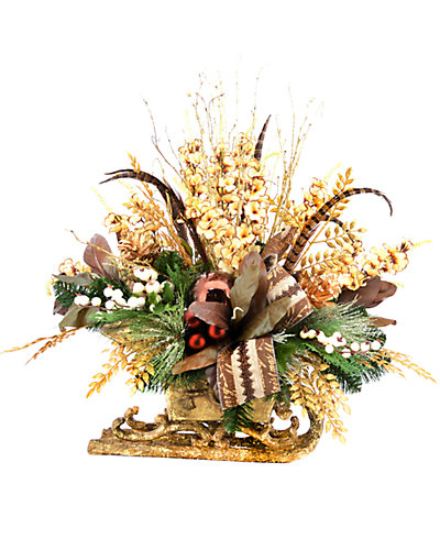 Holiday Arrangement in Gold Sleigh Container