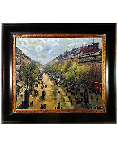 Boulevard Montmartre, Spring by Camille Pissarro Framed Hand Painted Oil Reproduction